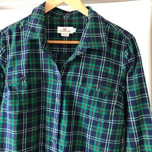 Vineyard Vines Plaid Popover Blouse sz 14